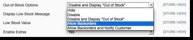Backorders for Magento custom options