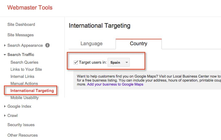 International-Targeting Google Webmasters Tools