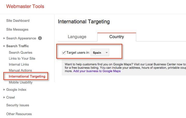 International-Targeting Google Webmasters Tools