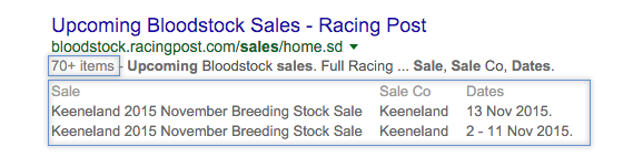 eCommerce rich snippets example