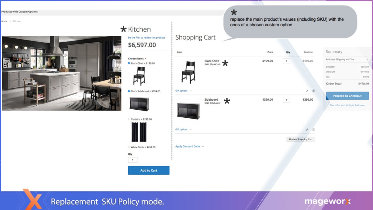 Replacement SKU policy for product options - Magento 2 product options extension