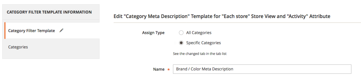 Selecting categories in SEO templates for layered navigation pages in Magento