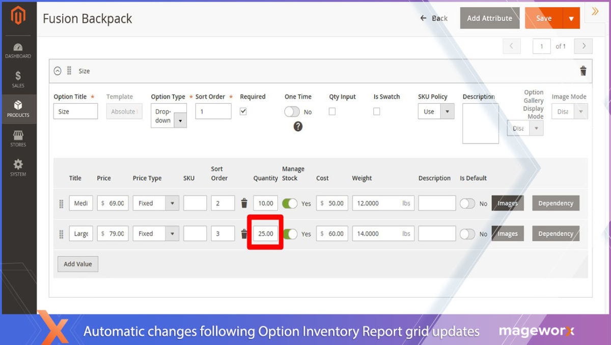 Quantity field and Manage stock updates - APO