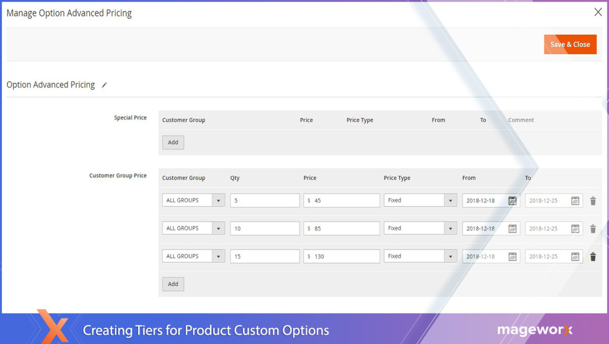Magento 2 tier prices for product options