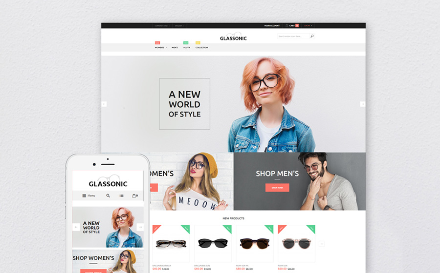 Designer Glasses Magento Theme | MageWorx Blog