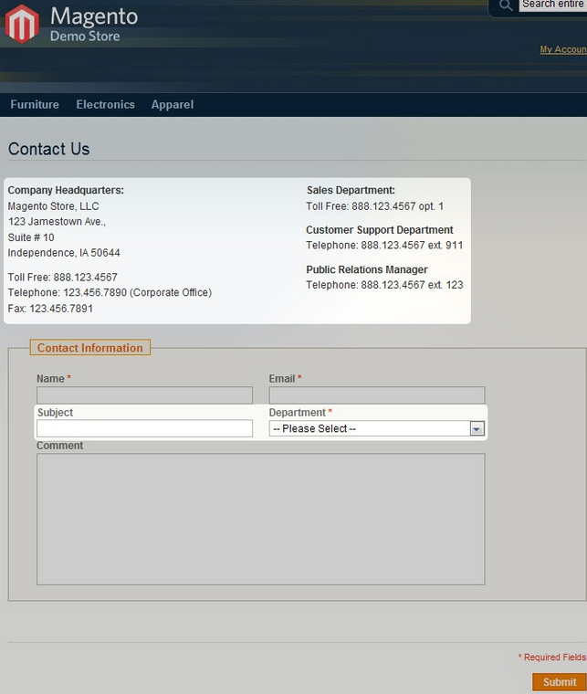 Extended Contacts Magento Extension