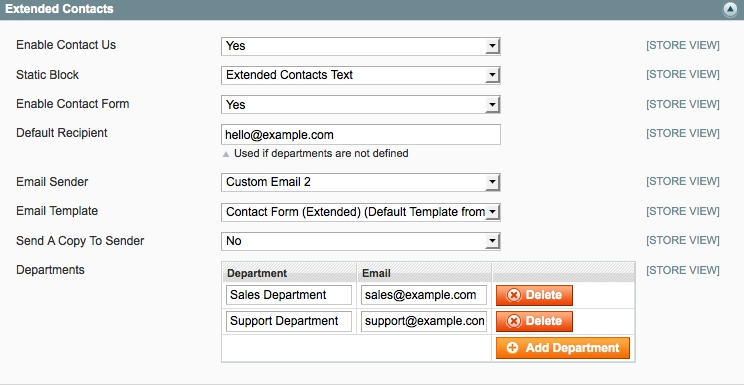 Extended Contact Magento extension in use