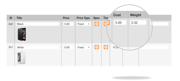 Weight and Cost for configurable product options in Advanced Product Options Magento extension