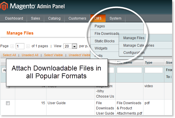Attach downloadble files to any page with Magento File Downloads extension