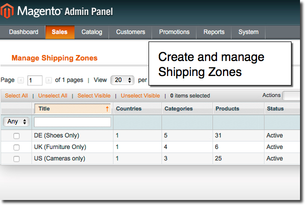 Manage Shipping Zones in Magento shipping extension