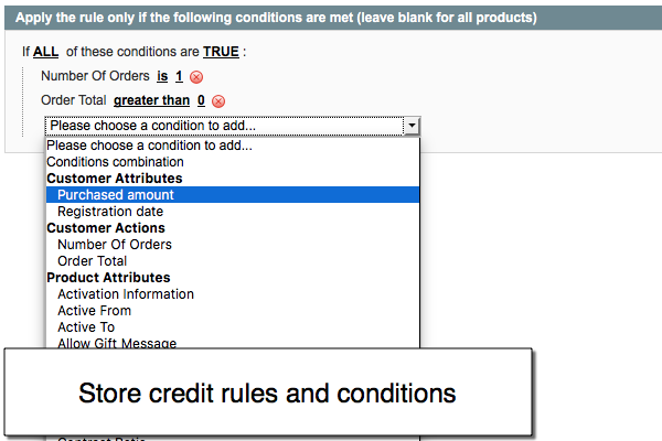 Magento store credit rules and conditions for Magento reward points extension