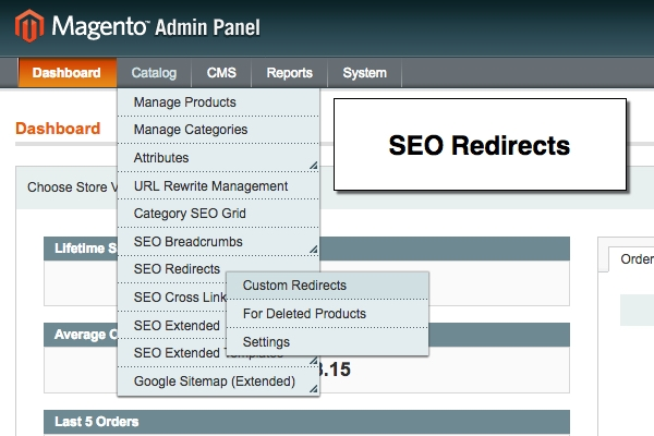 Magento seo redirects for deleted products and custom SEO redirects.
