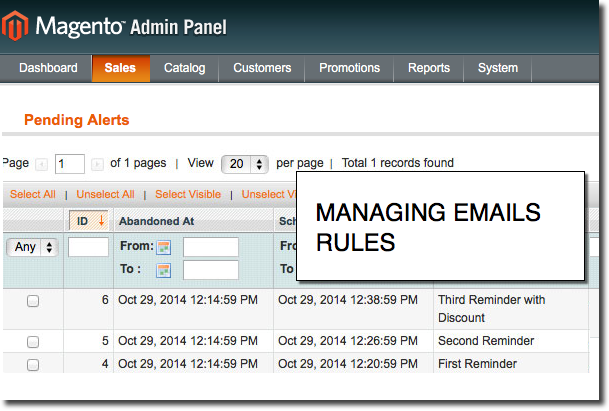 Monitor all the scheduled emails rules with Magento Abandoned Cart Recovery