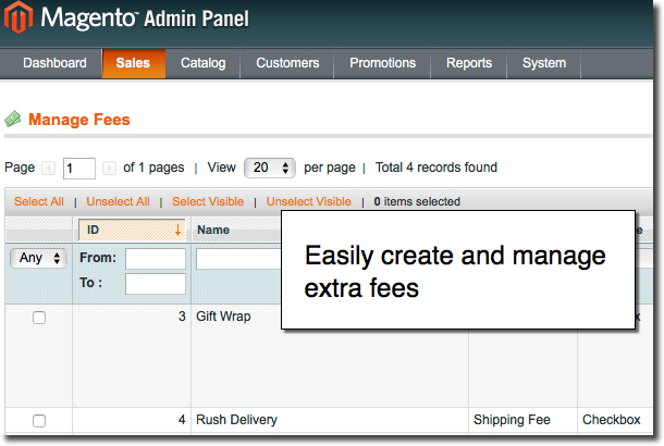 Create and manage any number of Magento additional services (fees)