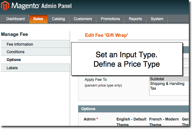 4 input options for additional feels/services in Magento Multi Fees extension