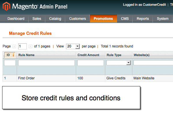 Magento store credit rules for Magento reward points extension