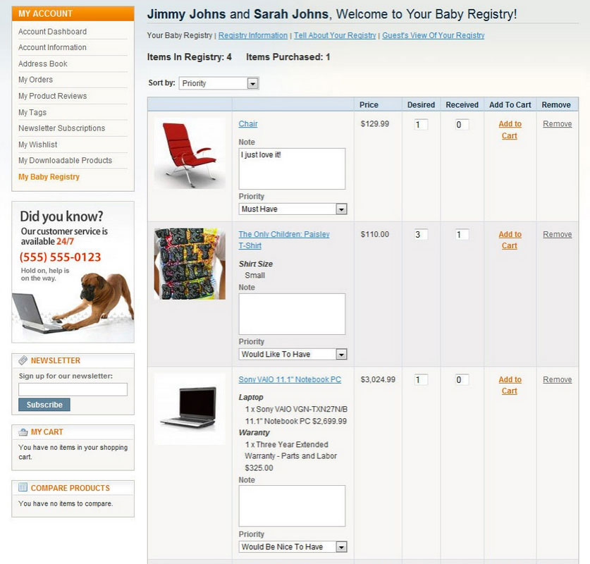 Manage baby registry list with Magento Baby Registry extension