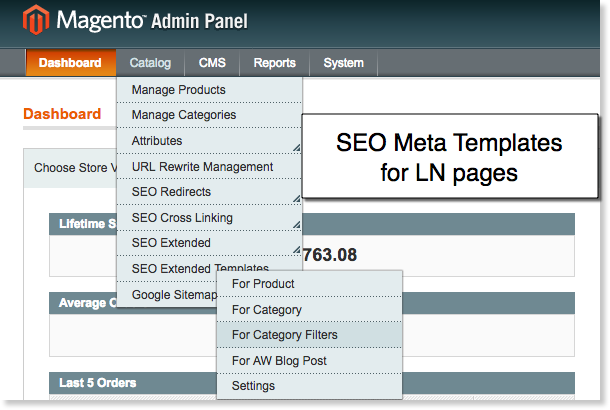 SEO meta templates for pages filtered by layered navigation.