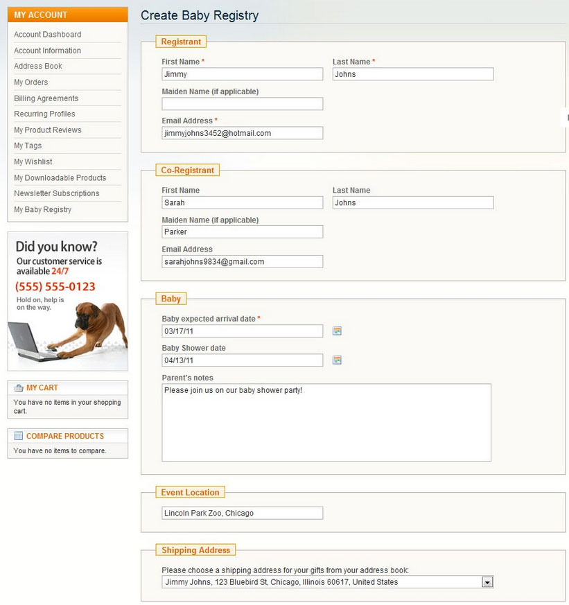 Create a baby registry with Magento Baby Gift Registry extension