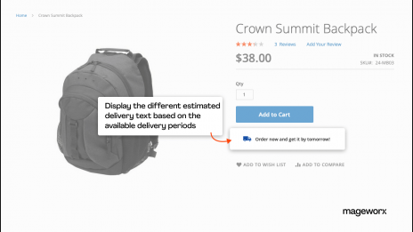 Ability to customize the text for available delivery periods on the product pages