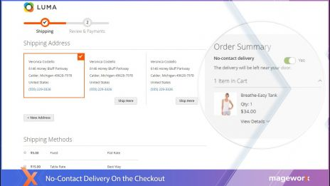 No-Contact Delivery for Magento 2 on the checkout