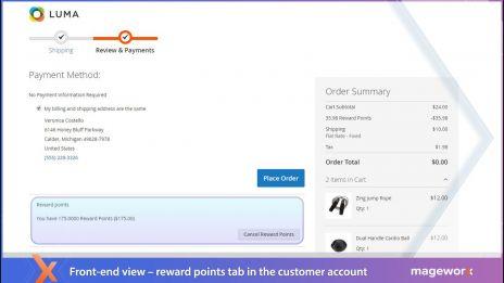 Reward points: Checkout