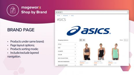 Shop by Brand: 'Brand' page on the frontend,Backend configuration tabs,MageWorx Shop by Brands: General settings,All brands page setup,Shop by Brands for Magento 2: Brand page configuration,User-friendly grid: Track all manufacturer/brand pages ,Magento 2