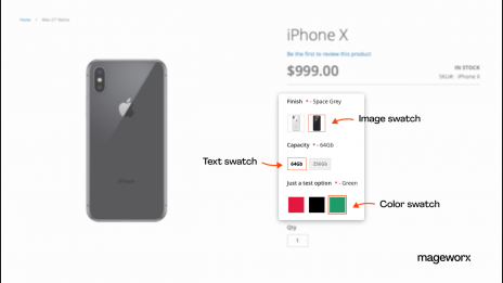 Magento custom option: text, image, and color swatches