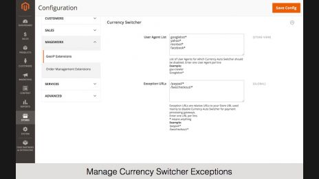 Manage Currency Switcher Exceptions,Update or Define Manually Currency Rates,Modify or Replace the Default Currency Symbols,Specify Country – Currency Relations,Update GeoIP Database on the Front-End,Currency Switching Functionality on the Front-End,