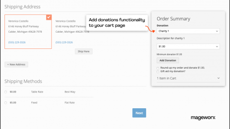 The functionality of the Magento 2 donation extension at the checkout