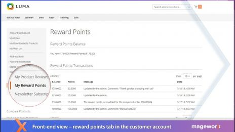 Reward points: Stats in the customer's account