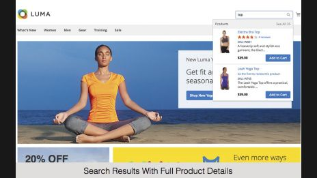 Search Results With Full Product Details,Fully Configurable Search Results,Autocomplete Search With As-You-Type Suggestions,Search Results With Limited Product Details,