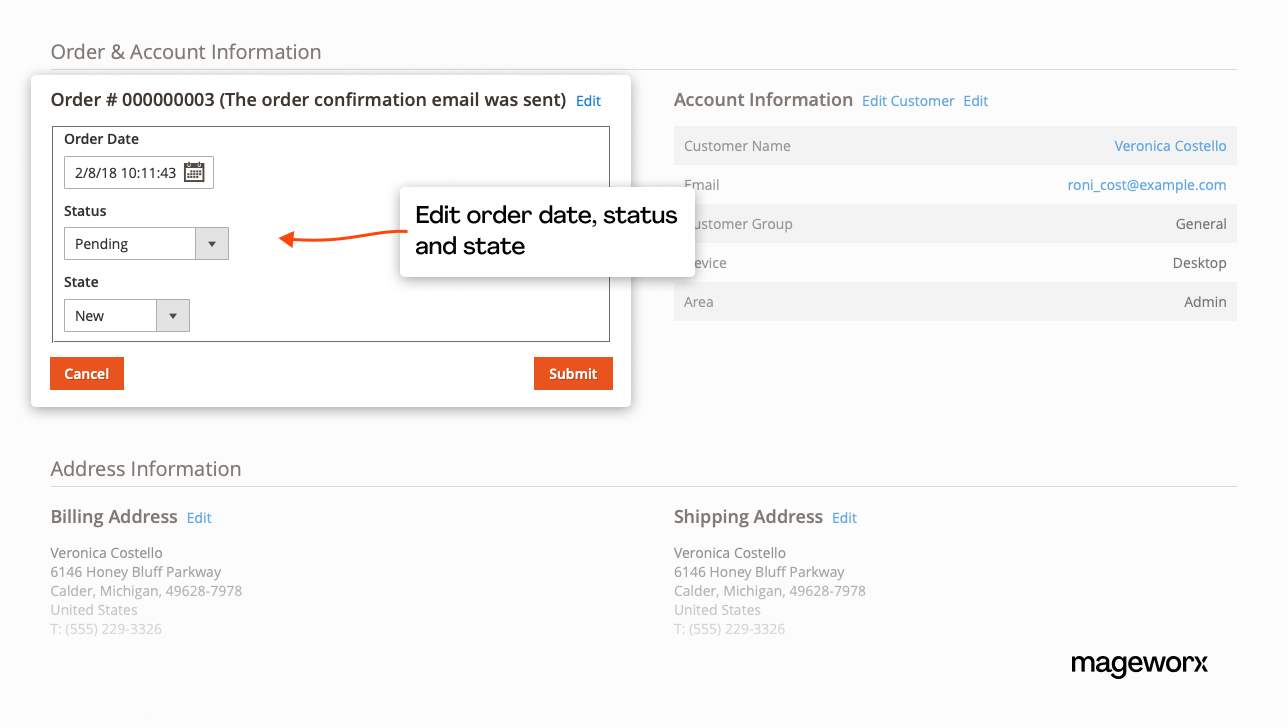 Manage order with ease - edit order date, status, and state