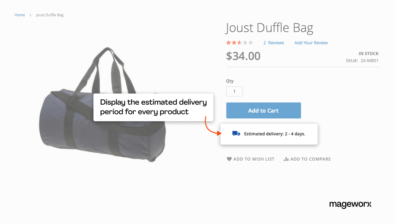 Estimated shipping date display on the product pages