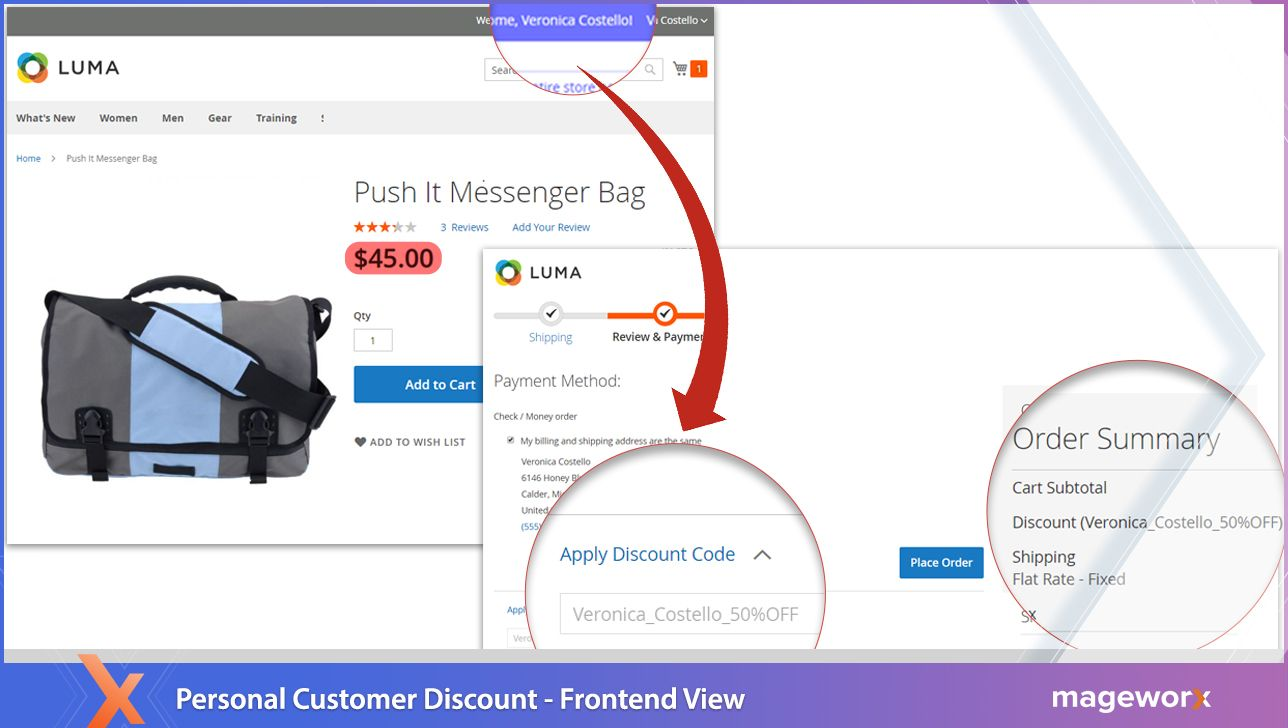 Personal Customer Discount extension for Magento 2 - frontend view,Personal Customer Discount module for Magento 2 - Enterprise Edition functionality,Personal Customer Discount addon for Magento 2 - backend view,