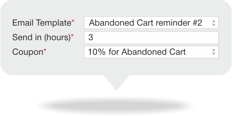 Specify the template, date and coupon code for Magento abandoned cart emails