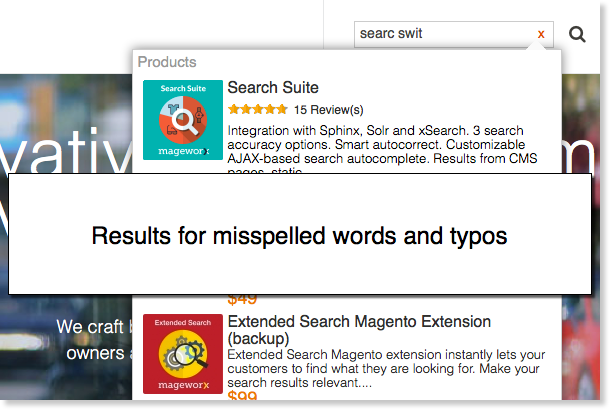 Magento results for misspelled queries and typos.
