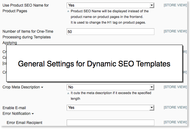 Magento SEO templates general settings