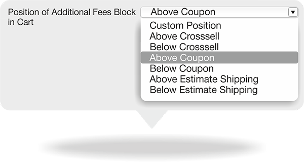 The position of an Addition Services/ Fees block