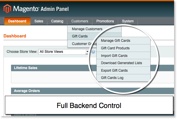 Managing backend in Gift Card Magento extension.