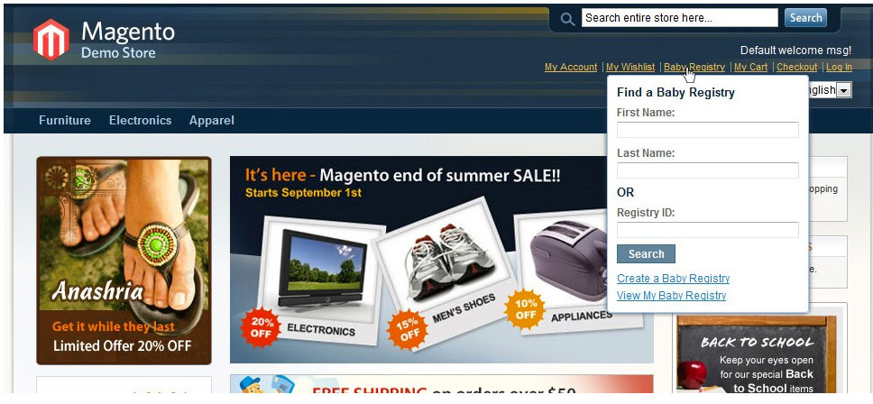 Search for a Baby Registry with Magento Baby Gift Registry extension