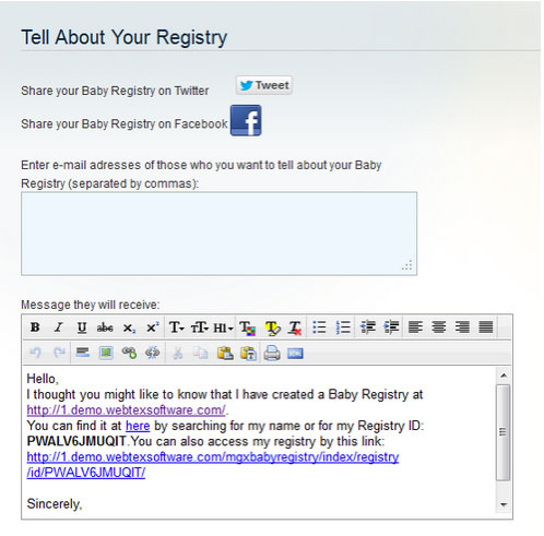 Share Baby Registry option in Magento Baby Gift Registry extension