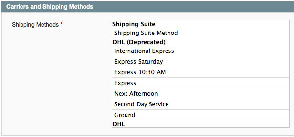 Shipping methods in Magento Shipping extension
