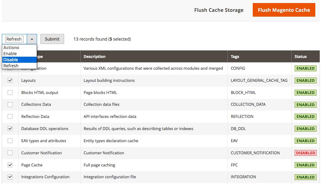 Magento 2 cache management
