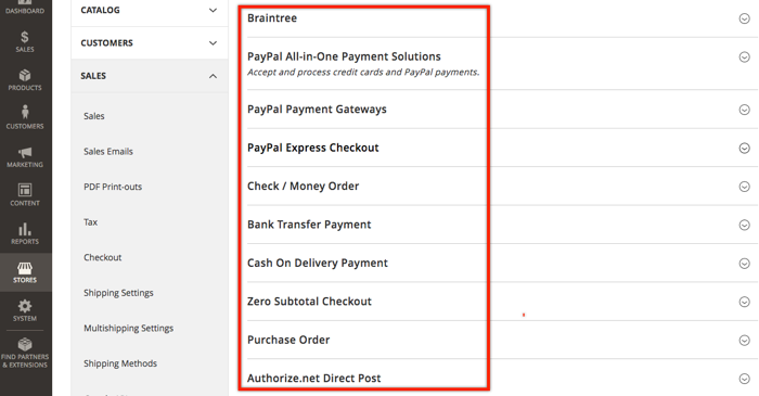 Magento payment metods details
