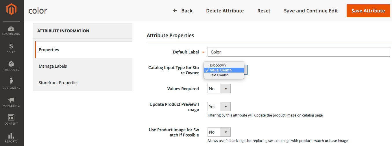Color swatch configuration in Magento2