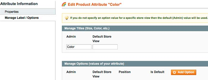 Manage label options in Magento