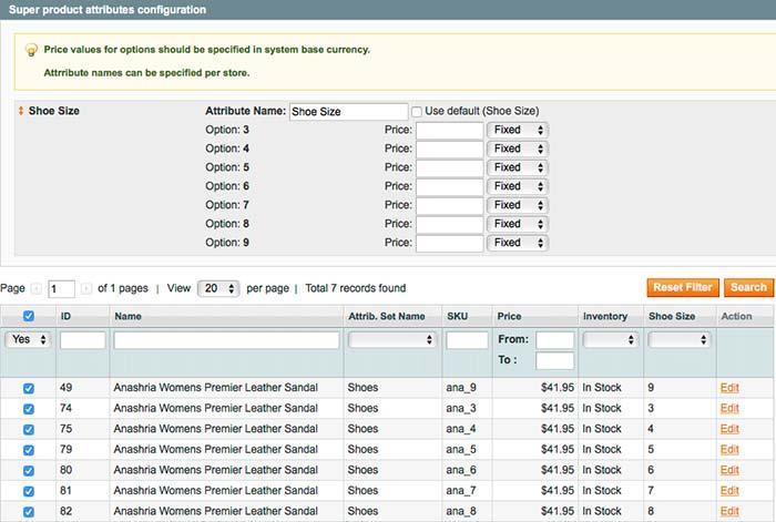 Super Magento product attributes configuration