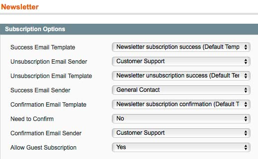Magento newsletter configuration