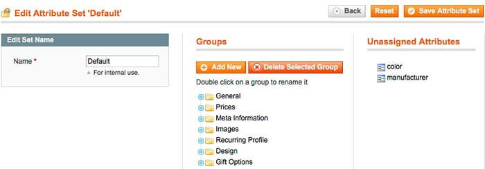 set of attributes in Magento